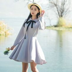 Jolly Club - Long-Sleeve Tie-Neck Dress