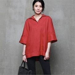HALUMAYBE - Open-Placket 3/4-Sleeve Top