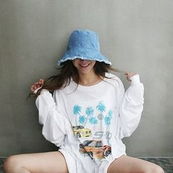 NANING9 - Fringed Denim Bucket Hat