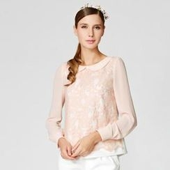O.SA - Embroidered Tulle-Front Blouse