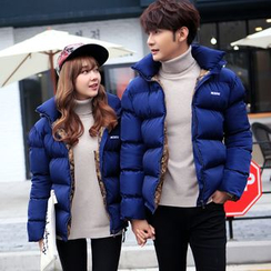 Simpair - Couple Matching Letter Embroidered Hooded Padded Jacket