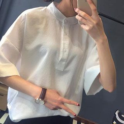 Shimi - Mandarin Collar Half-Placket Chiffon Shirt