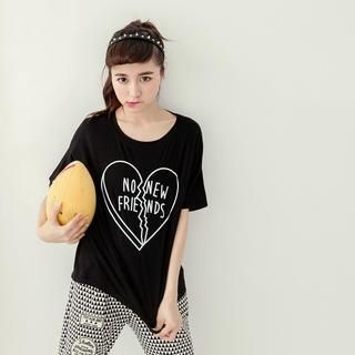 Tokyo Fashion - Short-Sleeve Heart-Print T-Shirt
