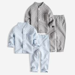 Happy Go Lucky - Kids Pajama Set: Padded Long Sleeve Top + Pants