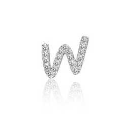 MBLife.com - Left Right Accessory - 9K White Gold Initial 'W' Pave Diamond Single Stud Earring (0.05cttw)