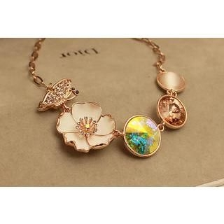 Love Generation - Gemstone Flower and Butterfly Necklace