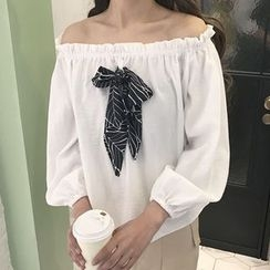 Cloud Nine - Bow Off-shoulder Chiffon Top