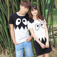 Igsoo - Couple Matching Monster Print Short-Sleeve T-shirt / T-shirt Dress