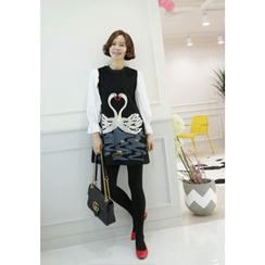 Lemite - Inset Blouse Swan-Print Shift Dress