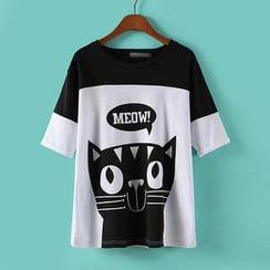 JVL - 短袖貓咪印花 T 恤