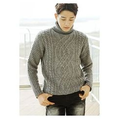 HOTBOOM - Wool Blend Turtleneck Cable-Knit Sweater