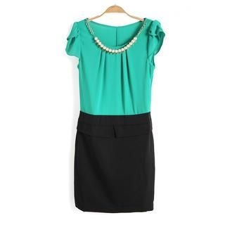 9mg - Beaded Chain-Accent Two-Tone Dress