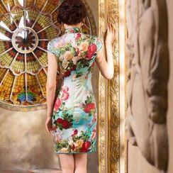 Miss Four Qipao - Cap-Sleeve Print Silk Cheongsam