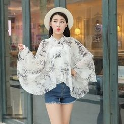 Rita Zita - Floral Print Chiffon Light Jacket
