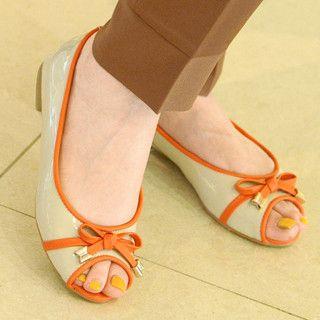 yeswalker - Bow-Accent Open-Toe Flats