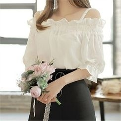 CHICLINE - Off-Shoulder Ruffle Blouse