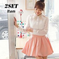 2fb - Set: Crochet-Collar Blouse + Pleated A-Line Skirt