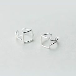 A'ROCH - 925 Sterling Silver Square Clip-On Earrings