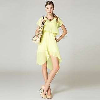 O.SA - Dip-Back Layered Chiffon Dress