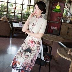 Montebelle - 印花短袖旗袍 / 宽身裤