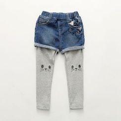 Seashells Kids - Kids Inset Cat Embroidered Leggings Denim Shorts