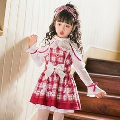 Candy Rain - Kids Collared Plaid Long Sleeve Dress