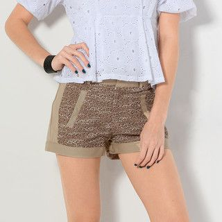 YesStyle Z - Tweed Panel Shorts (Belt not Included)