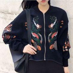 时尚麻豆家 - 刺绣拉链棒球外套