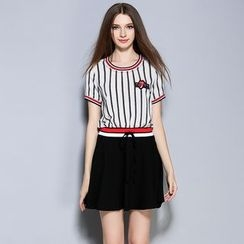 Cherry Dress - Pinstriped Short-Sleeve Panel Dress