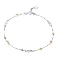 MaBelle - 14K Tri-Color White Yellow Rose Gold Bead and Infinity Sign Anklet  (23cm)