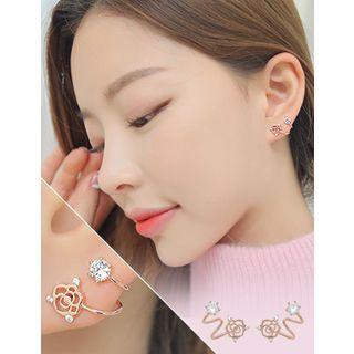 soo n soo - Rhinestone Rose Stud Earrings