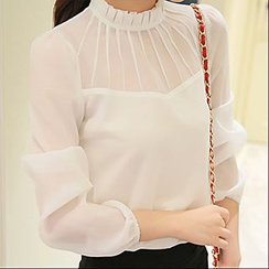 YUMU - Stand Collar Long-Sleeve Chiffon Blouse
