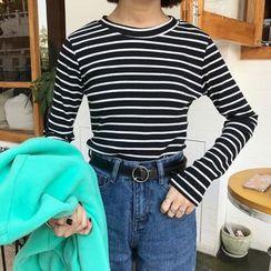 Dute - Striped Long Sleeve Knit Top