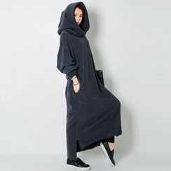 FASHION DIVA - Hooded Brushed-Fleece Lined Maxi Pullover Dress