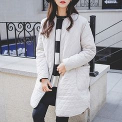 JUSTONE - Collarless Zip-Up Quilted Coat