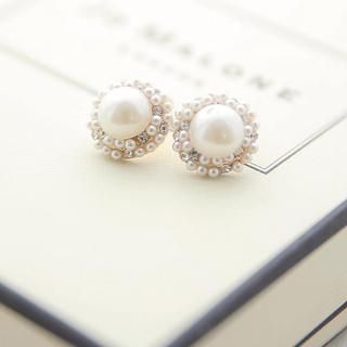 Tokyo Fashion - Rhinestone Faux-Pearl Stud Earrings