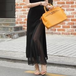 BRONCY - Cutout-Side Chiffon-Layered Maxi Skirt