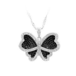 BELEC - 925 Sterling Silver Butterfly Pendant with Black and White Cubic Zircon and Necklace