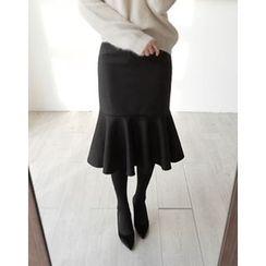 UPTOWNHOLIC - Ruffle-Hem Midi Skirt
