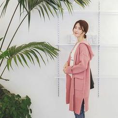 mimi&didi - Wool-Blend Hooded Long Knit Cardigan