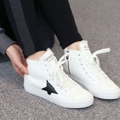DANI LOVE - Star-Appliqué Fleece-Lined High-Top Sneakers