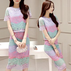 Romantica - Set: Color-Block Lace Top + Skirt