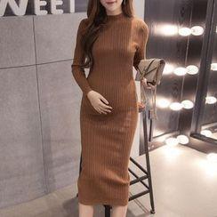 Dadada - 孕婦純色長袖連衣裙