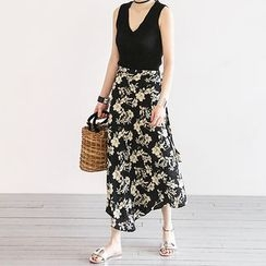NANING9 - Floral Pattern Long Wrap Skirt
