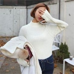 QNIGIRLS - Mock-Neck Rib-Knit Sweater