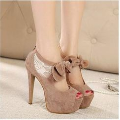 Freesia - Platform High Heel Bow Sandals