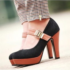 Blingon - Buckled Colour Block Pumps