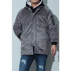 Ohkkage - Zip-Trim Sleeve Zip-Up Jacket
