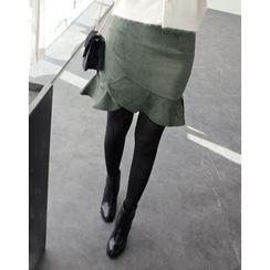 UPTOWNHOLIC - Zip-Back Ruffle-Hem Skirt