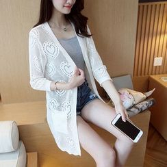 NIZ - Plain Open-Knit Long Cardigan